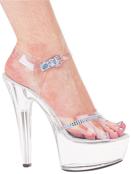 149819b1857bb8 6 Inch Stiletto Heel Clear Platform Sandals w Rhinestones  601-Jewel ...