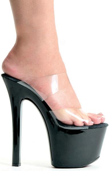 7 Inch Stiletto Heel Double Band Platform Mules