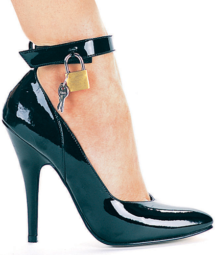 5 Inch Stiletto Heel Classic Ankle Strap Pumps w/Padlock & Key