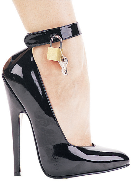 6 Inch Stiletto Heel Ankle Strap Pumps w/Padlock & Key