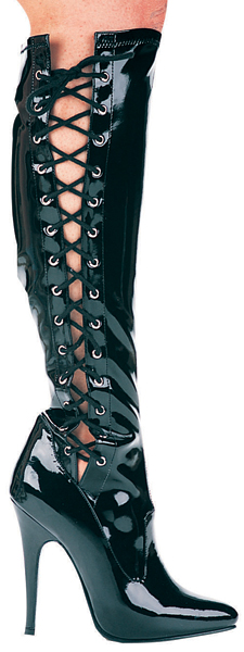 5 Inch Stiletto Heel Side Lacing Stretch Knee Boots